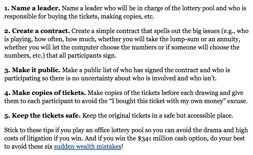 rules for lottery pools